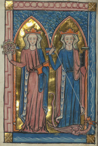 Carrow Psalter, SS. Catherine and Margaret, W.34, fol. 17v, Walters Art Museum, Baltimore